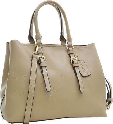 Dasein Buckle Strap Satchel Beige - Dasein Manmade Handbags