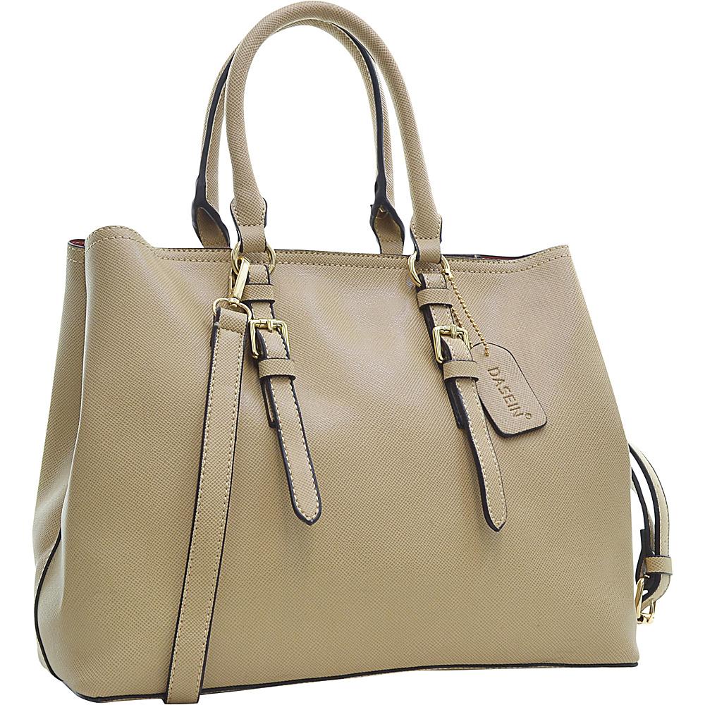 Dasein Buckle Strap Satchel Beige Dasein Manmade Handbags
