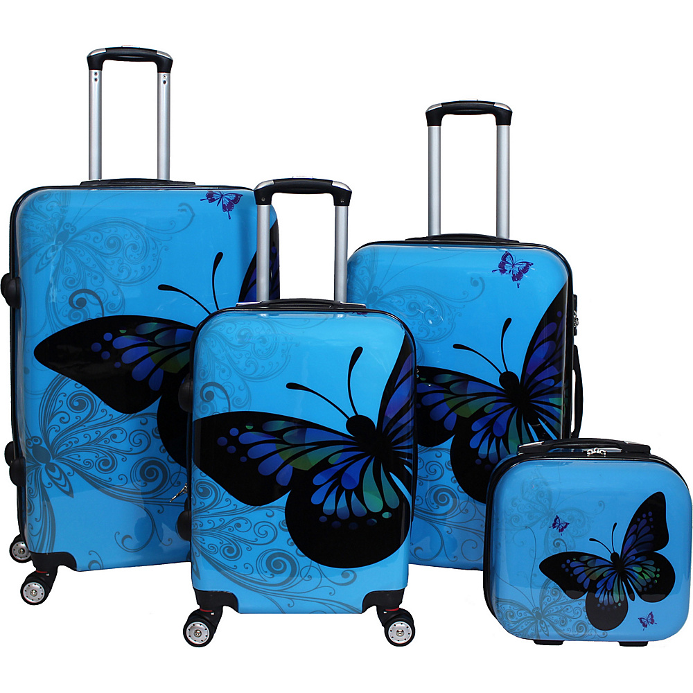 World Traveler Butterfly 4-Piece Hardside TSA Lock Spinner Luggage Set Light Blue - World Traveler Luggage Sets - Luggage, Luggage Sets