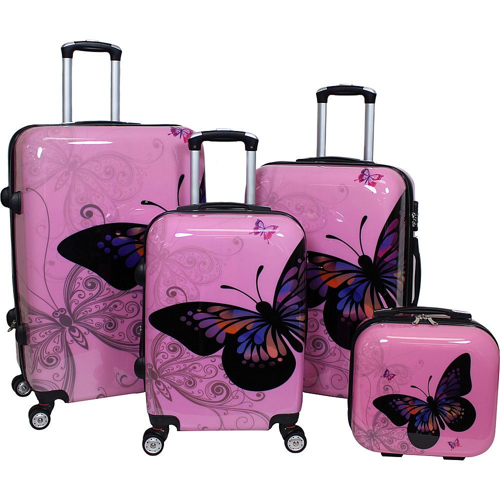 World Traveler Butterfly 4-Piece Hardside TSA Lock Spinner Luggage Set Light Pink - World Traveler Luggage Sets - Luggage, Luggage Sets