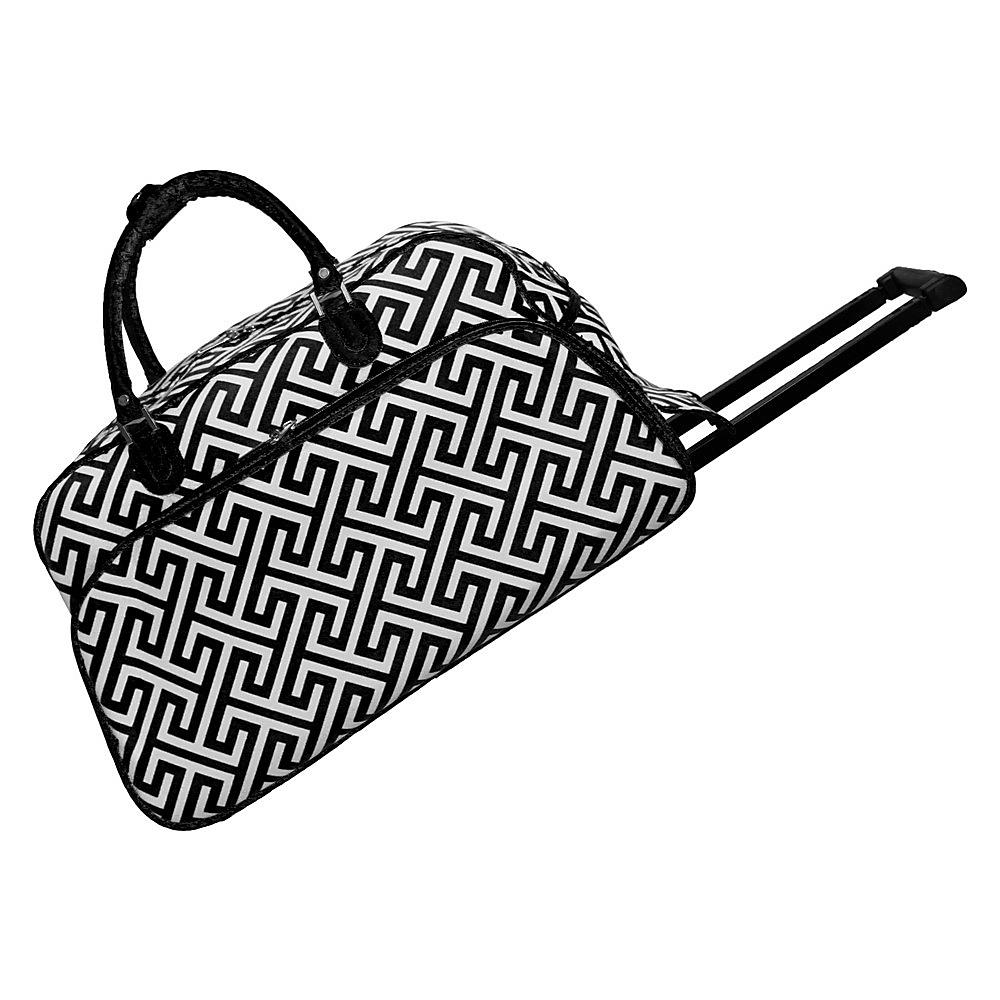 "World Traveler Greek Key 21"" Rolling Duffel Bag Black White Greek Key - World Traveler Rolling Duffels"