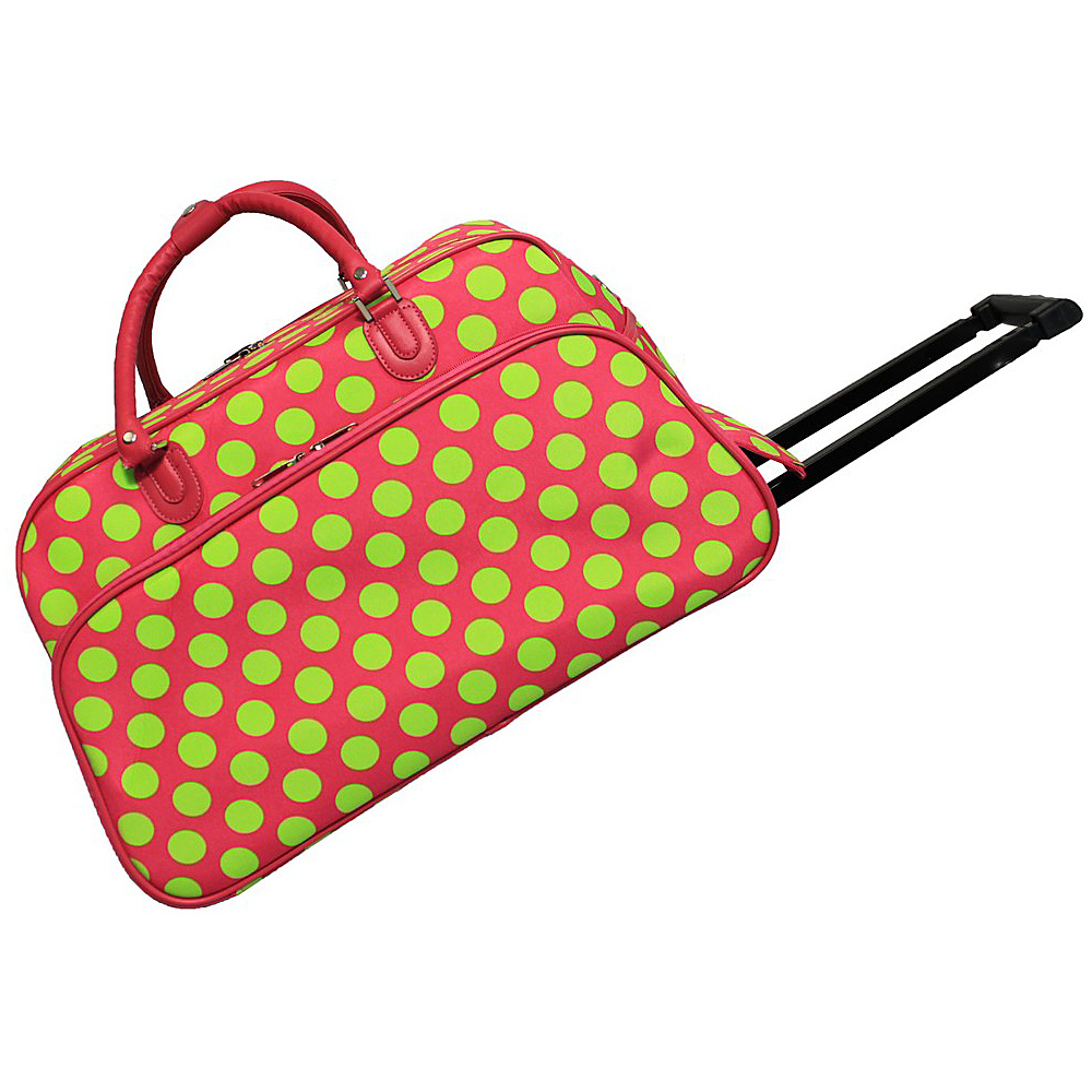 World Traveler Dots II 21 Rolling Duffel Bag Fuchsia Lime Dot II - World Traveler Rolling Duffels - Luggage, Rolling Duffels