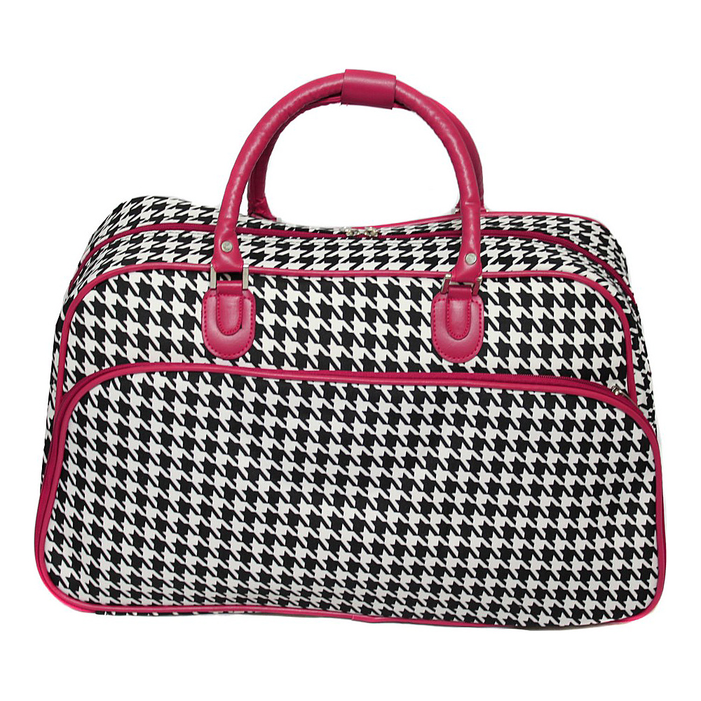 World Traveler Houndstooth 21 Carry-On Duffel Bag Fuchsia Trim Houndstooth - World Traveler Rolling Duffels - Luggage, Rolling Duffels