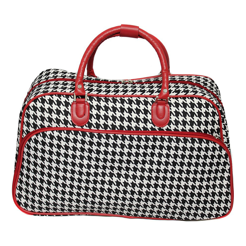 World Traveler Houndstooth 21 Carry-On Duffel Bag Red Trim Houndstooth - World Traveler Rolling Duffels - Luggage, Rolling Duffels