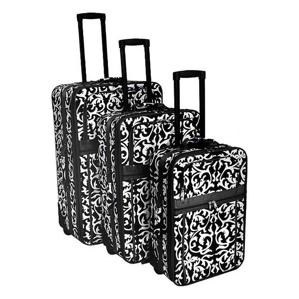 World Traveler Damask 3-Piece Expandable Upright Luggage Set Black Trim Damask - World Traveler Luggage Sets - Luggage, Luggage Sets