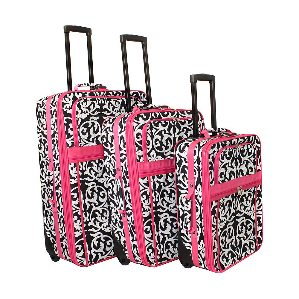 World Traveler Damask 3-Piece Expandable Upright Luggage Set Pink Trim Damask - World Traveler Luggage Sets - Luggage, Luggage Sets