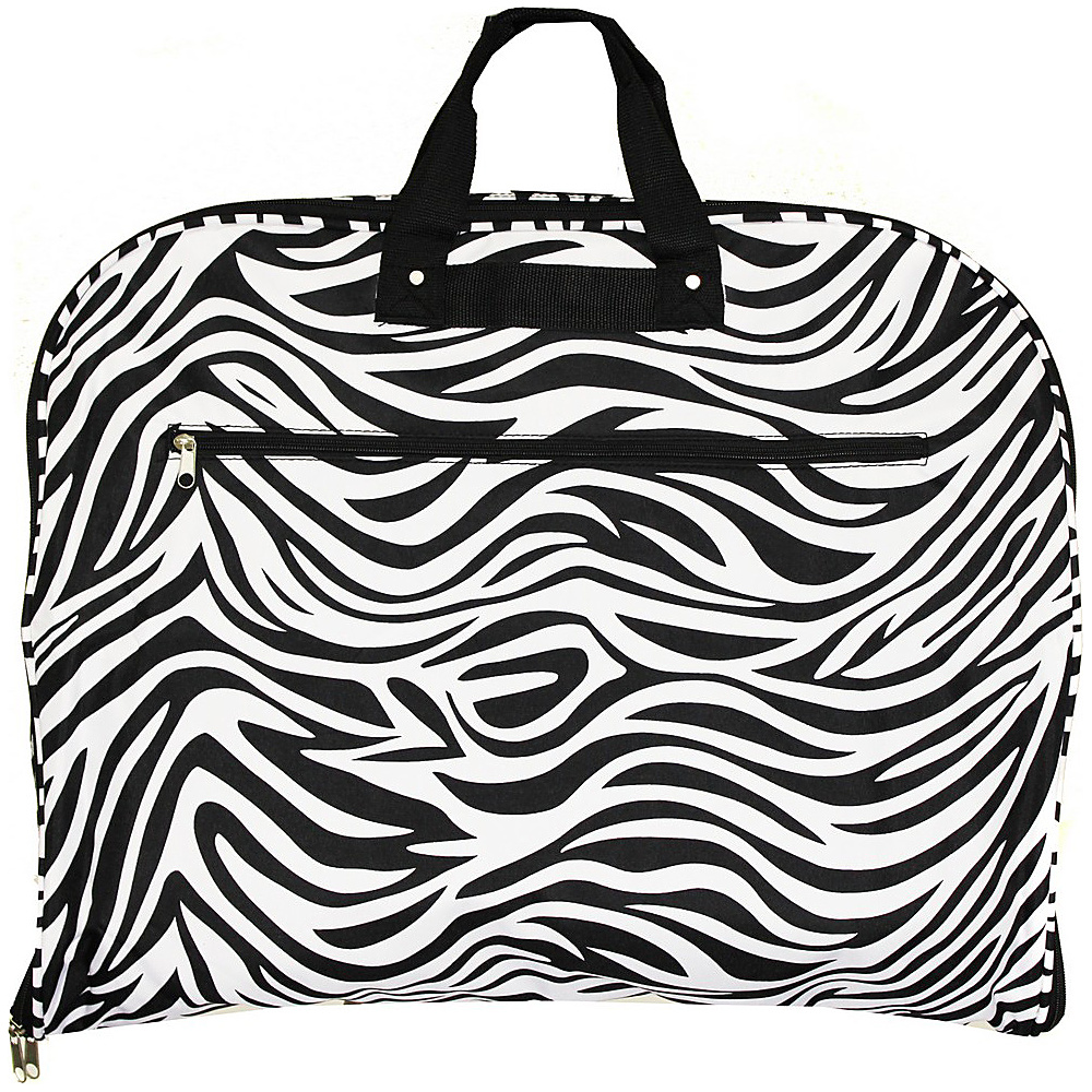 World Traveler Zebra 40 Hanging Garment Bag Black Trim Zebra - World Traveler Garment Bags - Luggage, Garment Bags