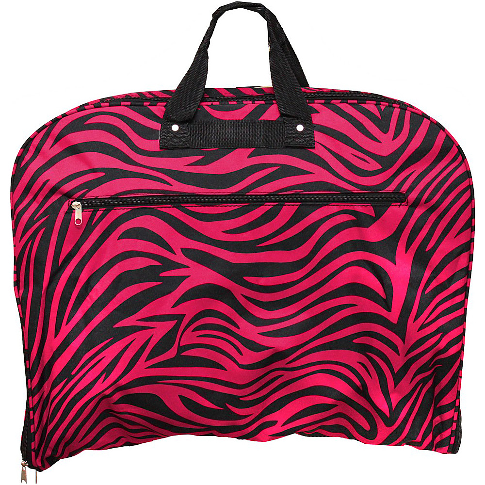 World Traveler Zebra 40 Hanging Garment Bag Fuchsia Black Zebra - World Traveler Garment Bags - Luggage, Garment Bags