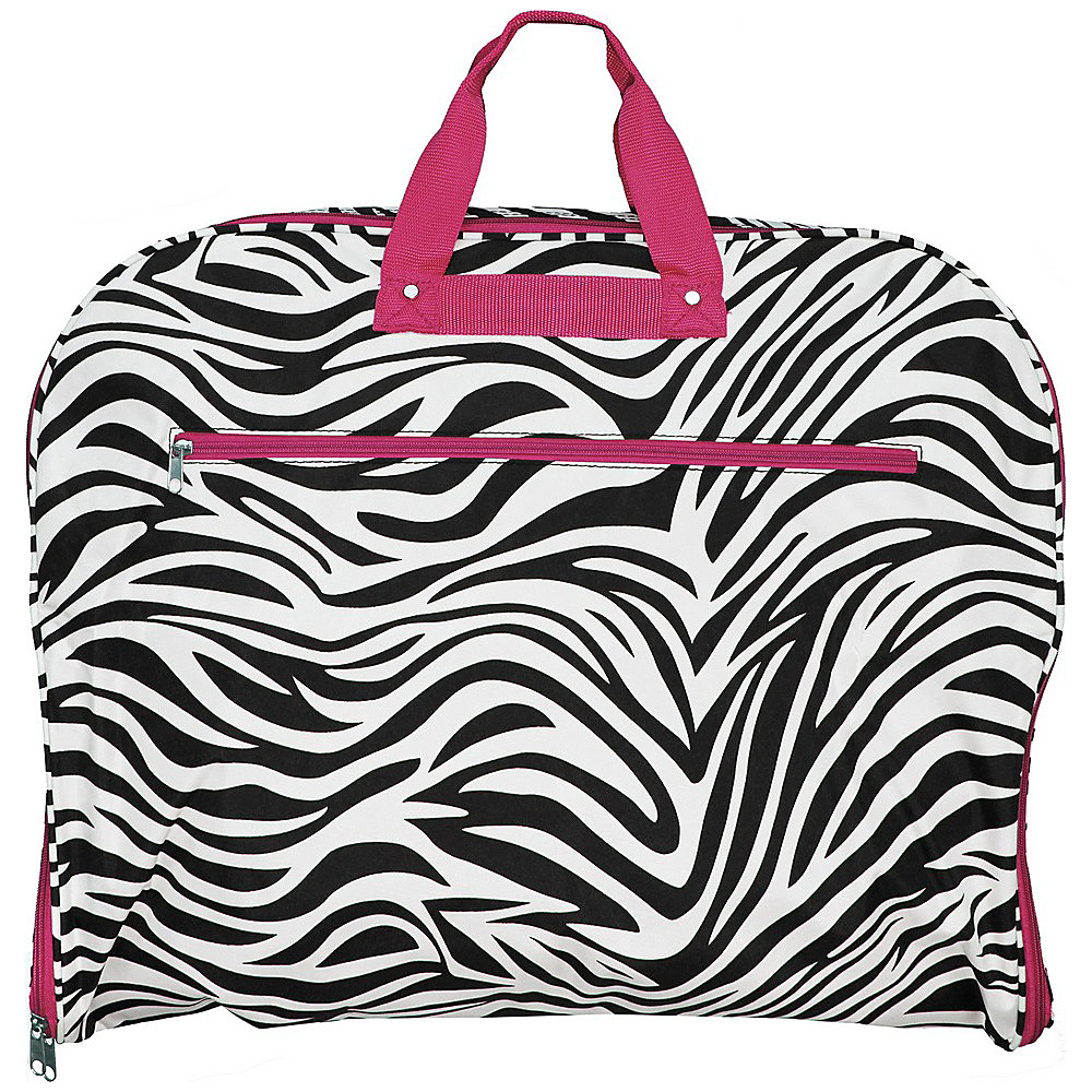 World Traveler Zebra 40 Hanging Garment Bag Pink Trim Zebra - World Traveler Garment Bags - Luggage, Garment Bags