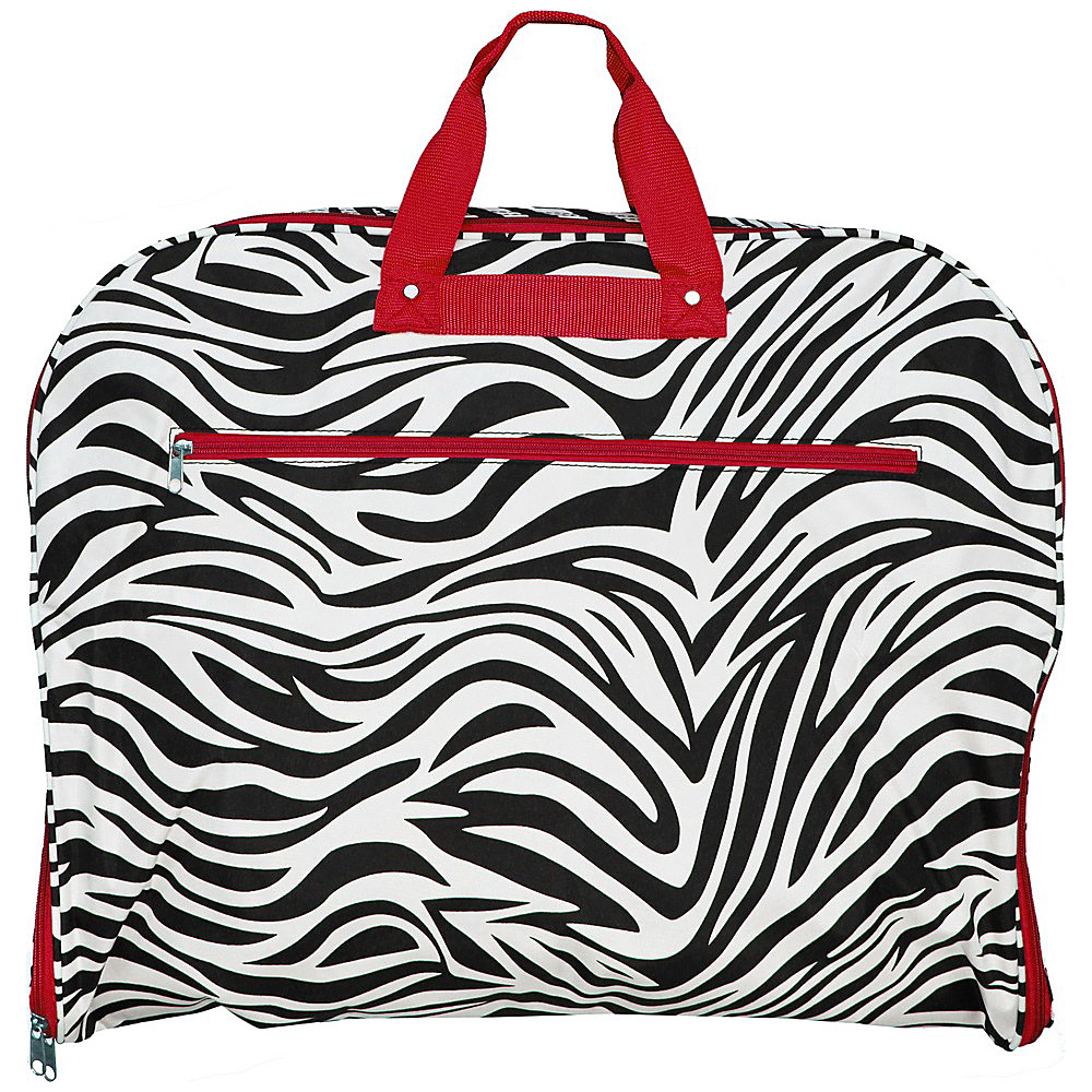 World Traveler Zebra 40 Hanging Garment Bag Red Trim Zebra - World Traveler Garment Bags - Luggage, Garment Bags