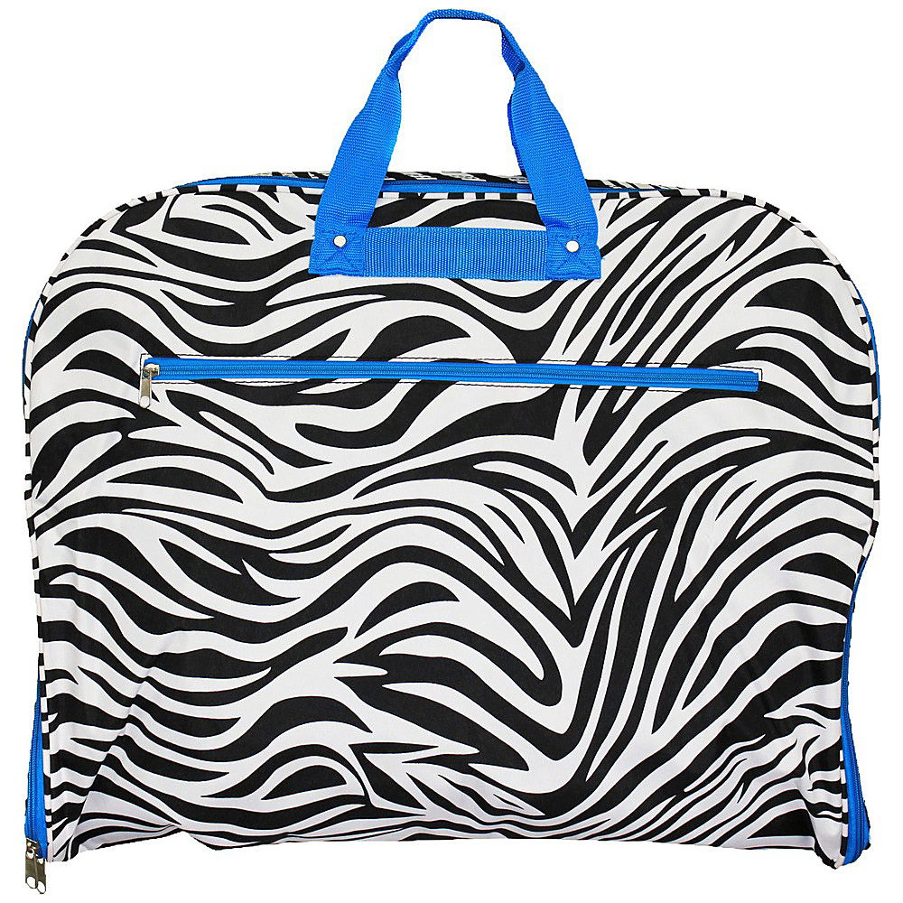 World Traveler Zebra 40 Hanging Garment Bag Blue Trim Zebra - World Traveler Garment Bags - Luggage, Garment Bags
