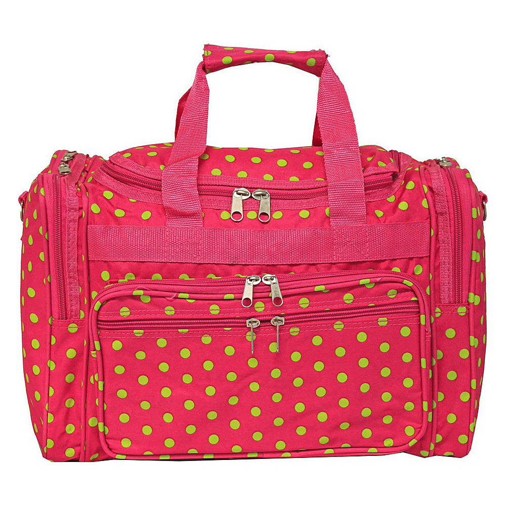 World Traveler Dots 16 Shoulder Duffle Bag Fuchsia Lime Dot - World Traveler Rolling Duffels - Luggage, Rolling Duffels