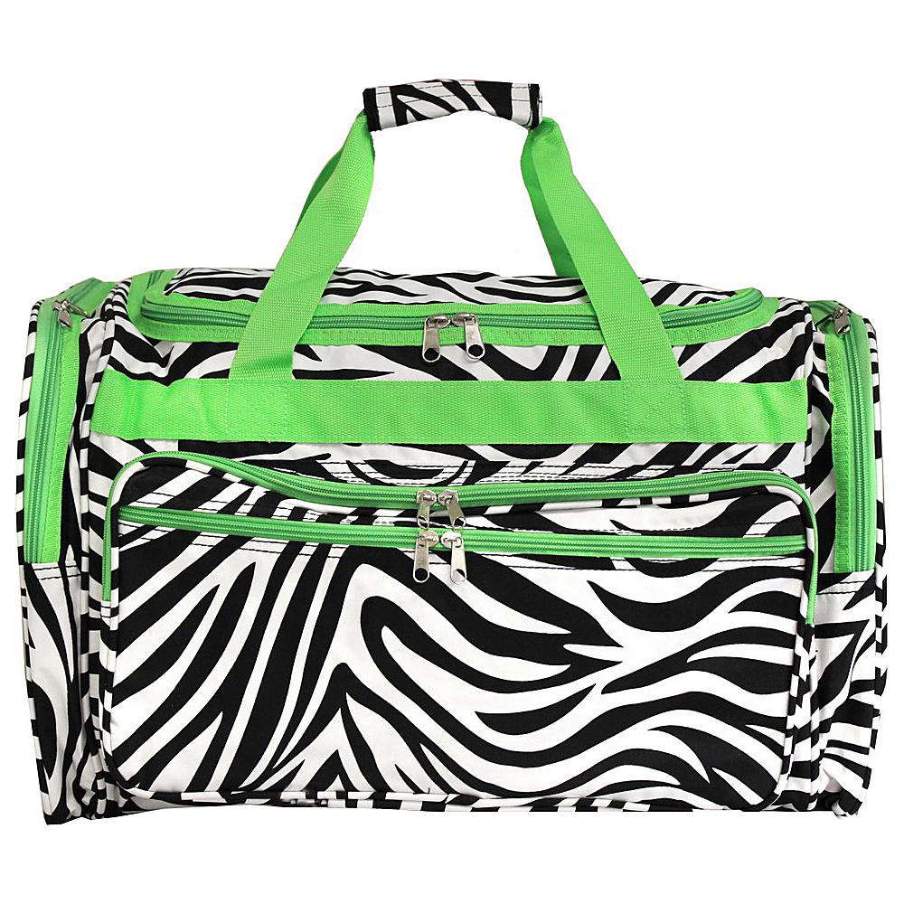 World Traveler Zebra 22 Travel Duffle Bag Green Trim Zebra - World Traveler Rolling Duffels - Luggage, Rolling Duffels