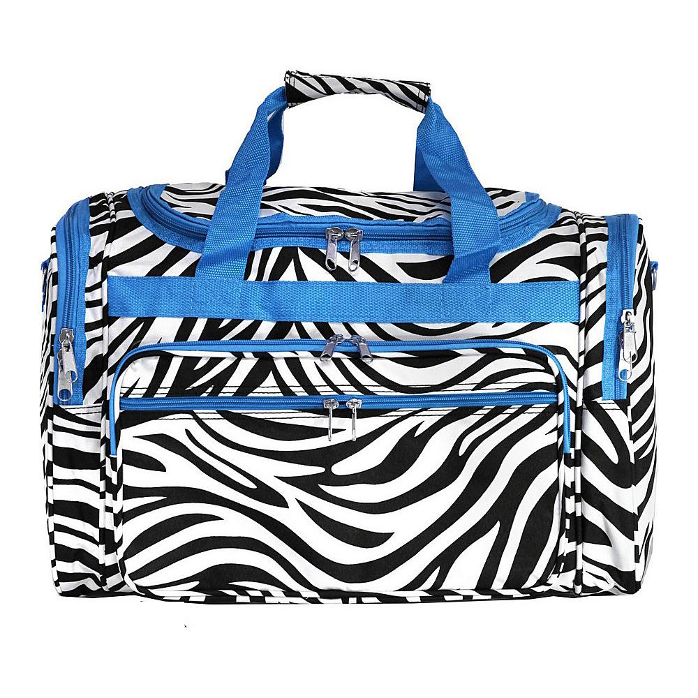 World Traveler Zebra 22 Travel Duffle Bag Blue Trim Zebra - World Traveler Rolling Duffels - Luggage, Rolling Duffels