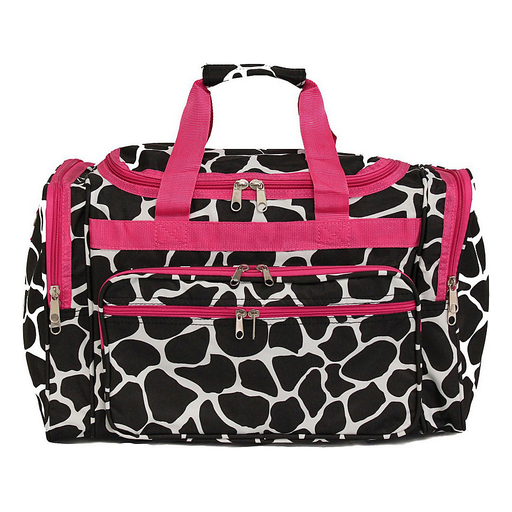 World Traveler Giraffe 22 Travel Duffle Bag Fuchsia Trim Giraffe - World Traveler Rolling Duffels - Luggage, Rolling Duffels
