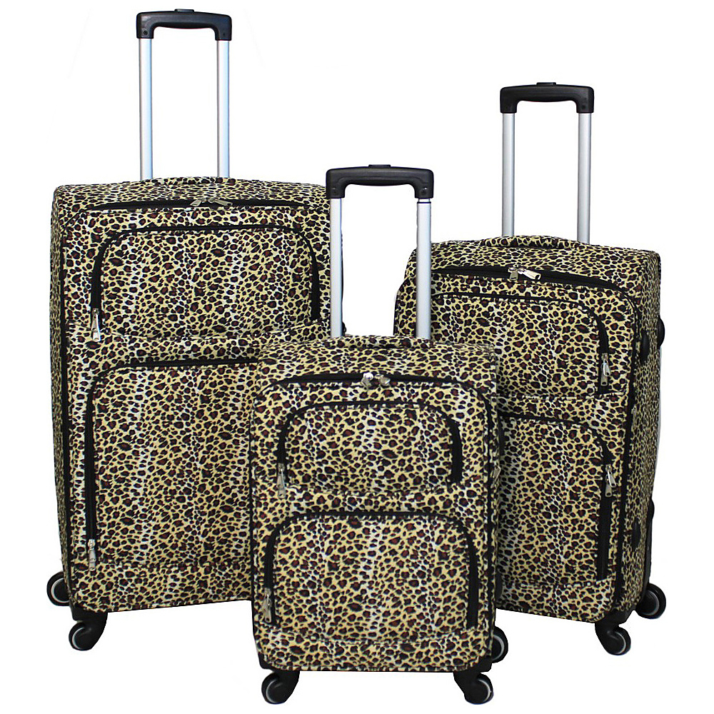 World Traveler Leopard 3-Piece Expandable Upright Spinner Luggage Set Leopard - World Traveler Luggage Sets - Luggage, Luggage Sets