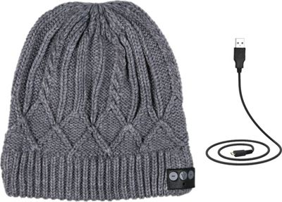 Image of 1Voice Bluetooth Cable Knit Beanie Grey - 1Voice Electronics