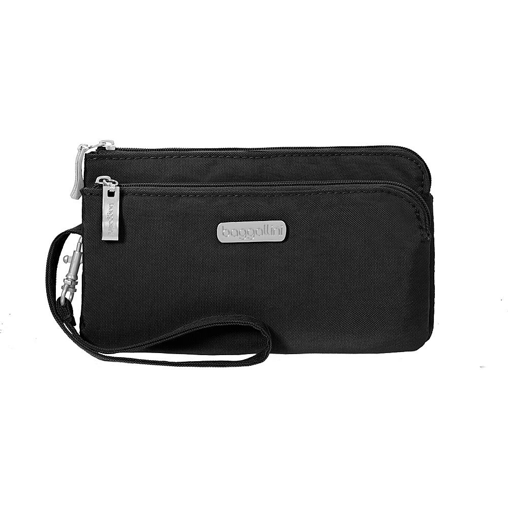 baggallini RFID Double Zip Wristlet Black/Sand - baggallini Fabric Handbags - Handbags, Fabric Handbags