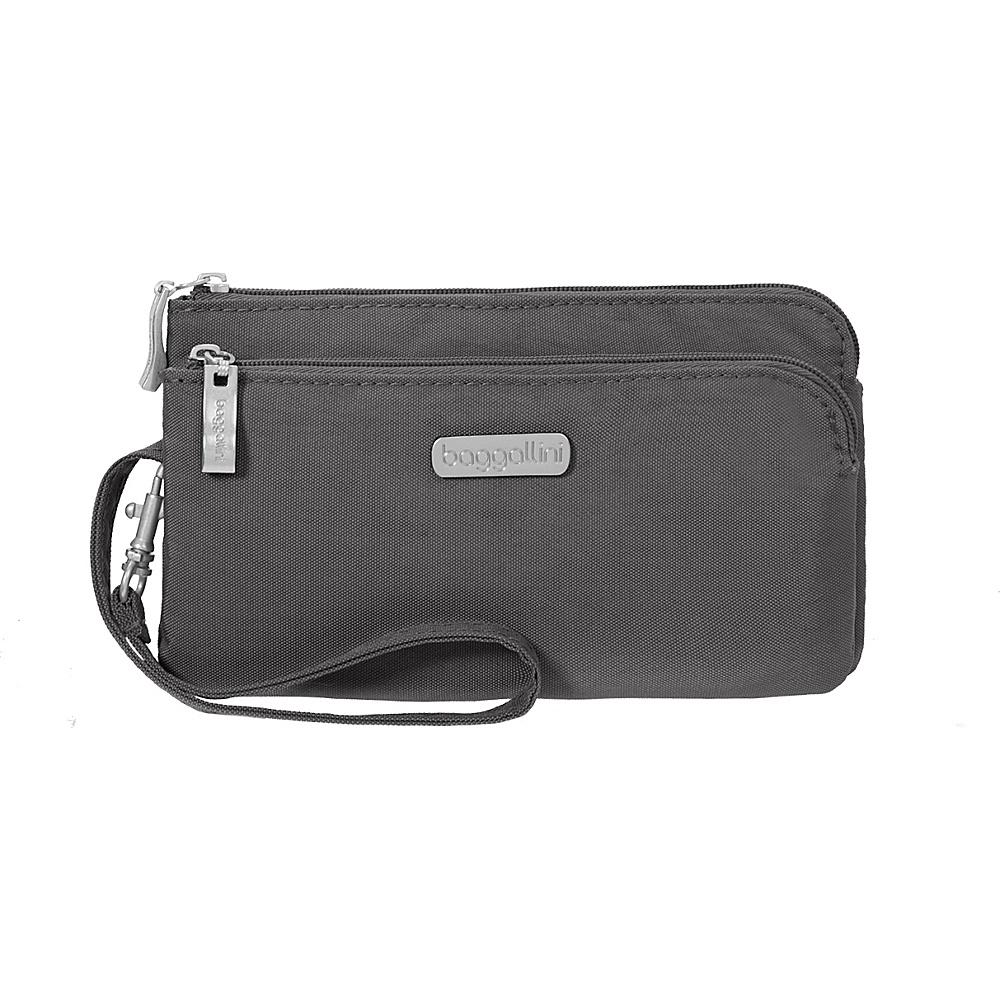 baggallini RFID Double Zip Wristlet Charcoal - baggallini Fabric Handbags - Handbags, Fabric Handbags