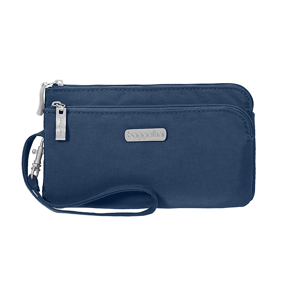 baggallini RFID Double Zip Wristlet Pacific - baggallini Fabric Handbags - Handbags, Fabric Handbags