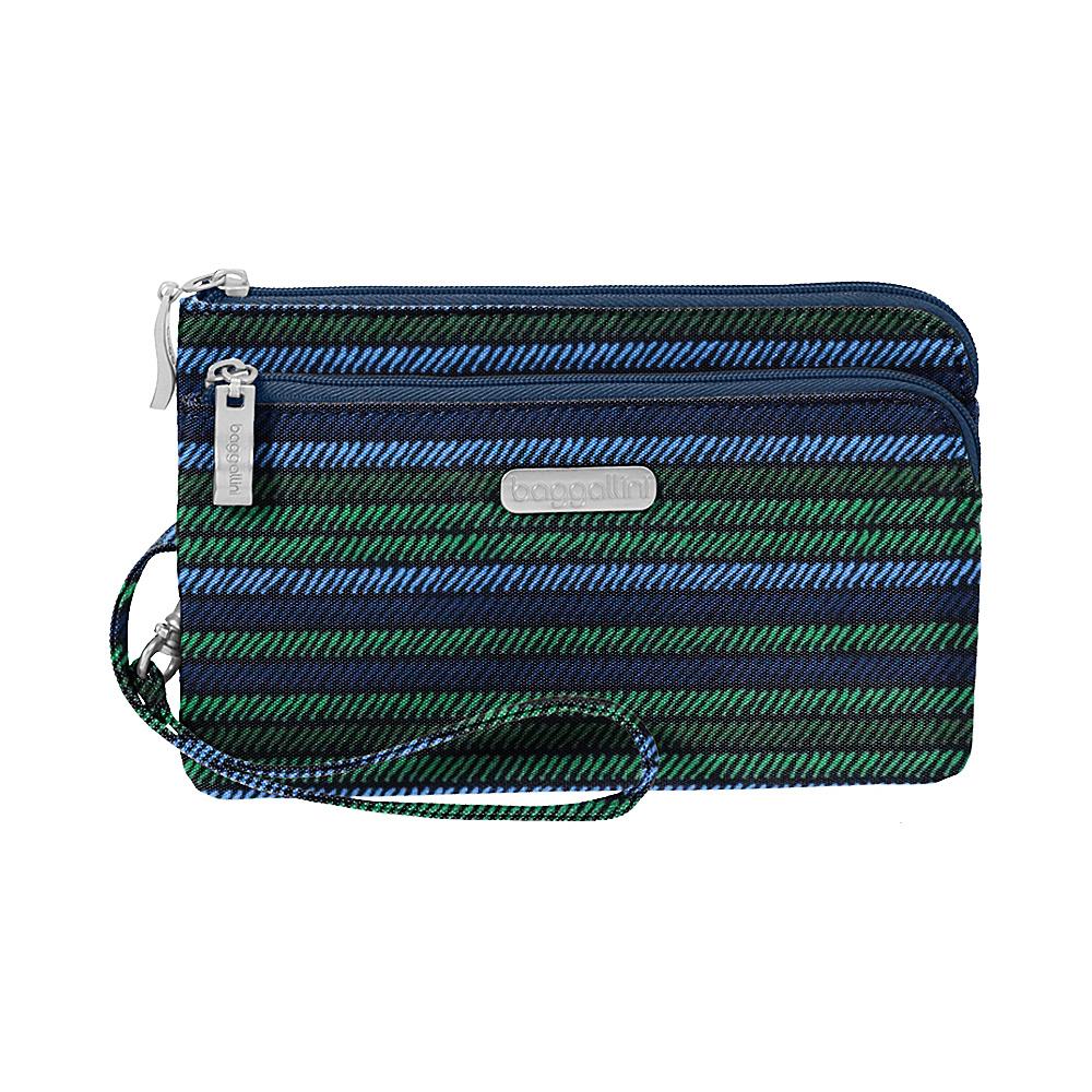 baggallini RFID Double Zip Wristlet Moss Stripe - baggallini Fabric Handbags - Handbags, Fabric Handbags