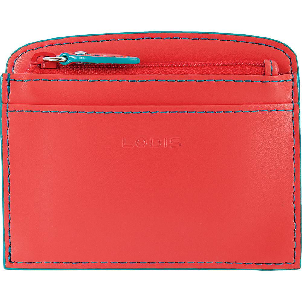 Lodis Audrey Laci Card Case Coral/Turquoise - Lodis Womens Wallets - Women's SLG, Women's Wallets