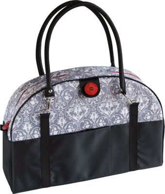 Image of 2 Red Hens Coop Carry-All Diaper Bag Grey Damask - 2 Red Hens Diaper Bags