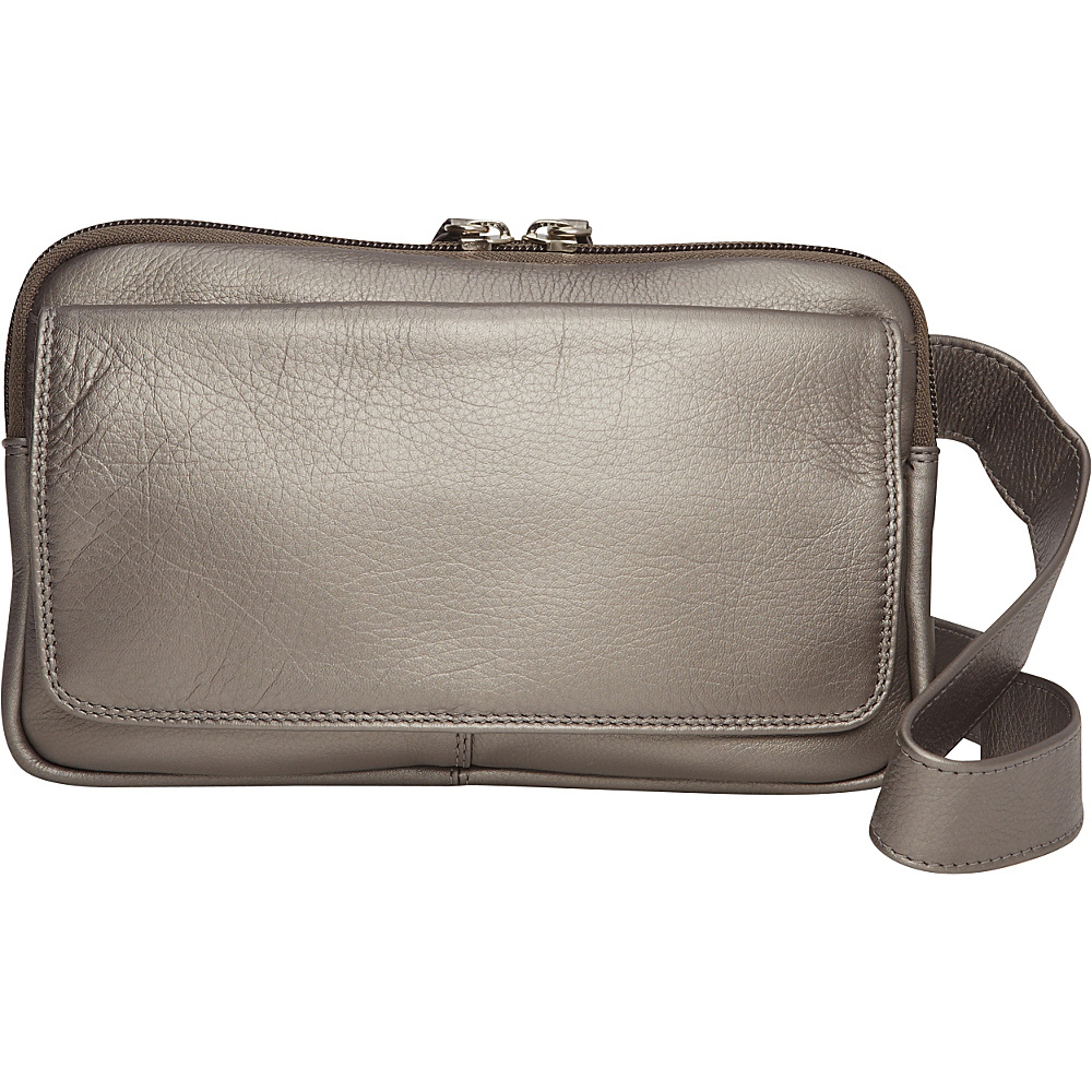 Derek Alexander Multi Compartment Organizer Crossbody Silver - Derek Alexander Leather Handbags - Handbags, Leather Handbags