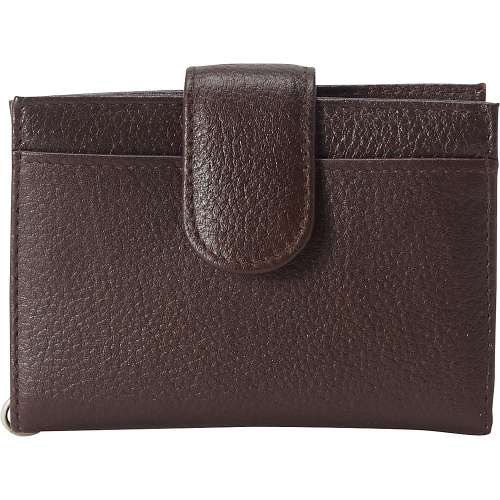 Buxton Hudson Pik-Me-Up Tab Card Case Chocolate Brown - Buxton Womens Wallets - Women's SLG, Women's Wallets