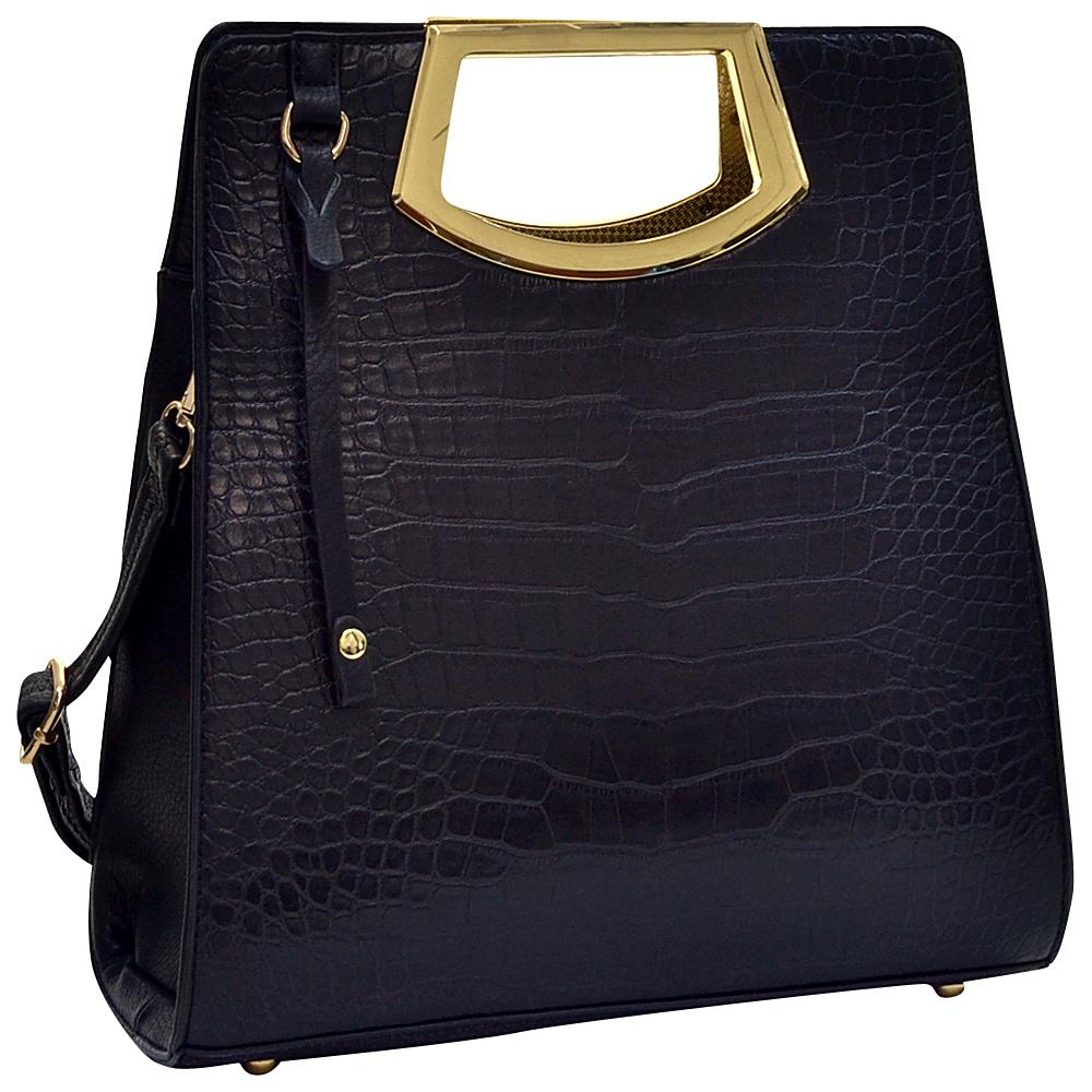 Dasein Tall Structured Croc Tote Black - Dasein Manmade Handbags - Handbags, Manmade Handbags