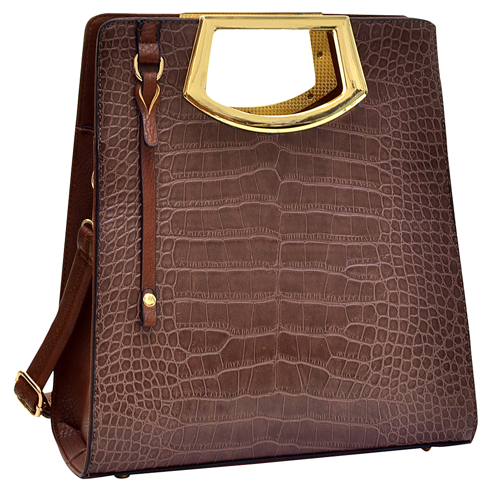 Dasein Tall Structured Croc Tote Brown - Dasein Gym Bags - Sports, Gym Bags