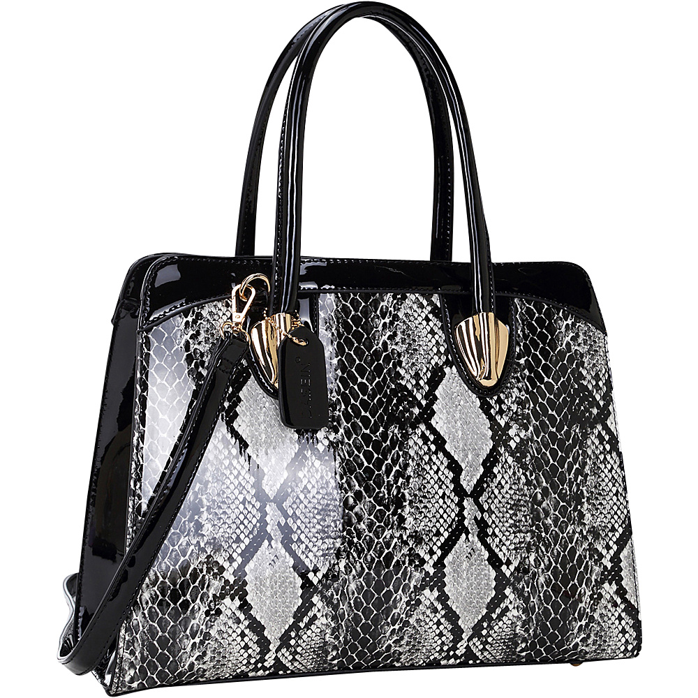 Dasein Patent Faux Leather with Snake Skin Detail Shoulder Bag Black - Dasein Manmade Handbags - Handbags, Manmade Handbags