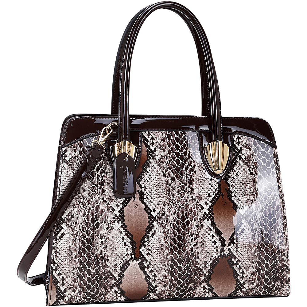 Dasein Patent Faux Leather with Snake Skin Detail Shoulder Bag Brown - Dasein Manmade Handbags - Handbags, Manmade Handbags