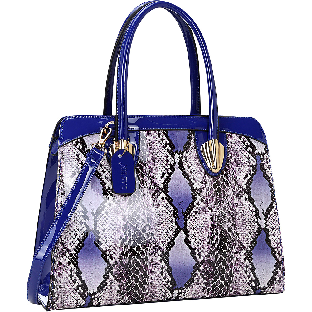 Dasein Patent Faux Leather with Snake Skin Detail Shoulder Bag Royal Blue - Dasein Manmade Handbags - Handbags, Manmade Handbags