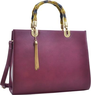 Dasein Bamboo Handle Smooth Faux Leather Medium Tote Wine - Dasein Manmade Handbags