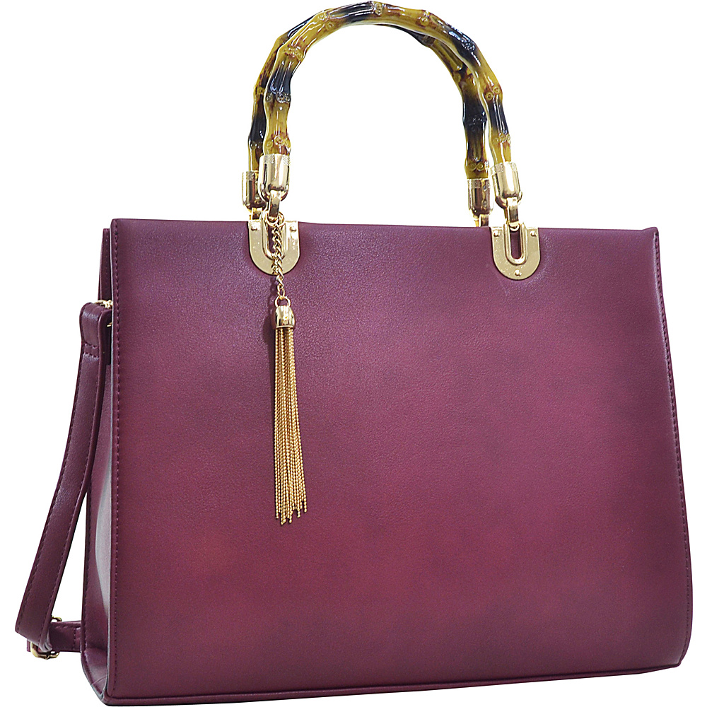 Dasein Bamboo Handle Smooth Faux Leather Medium Tote Wine - Dasein Manmade Handbags - Handbags, Manmade Handbags