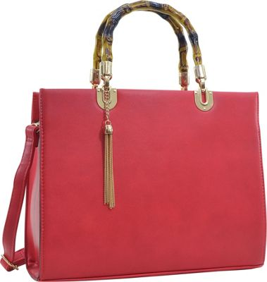 Dasein Bamboo Handle Smooth Faux Leather Medium Tote Red - Dasein Manmade Handbags