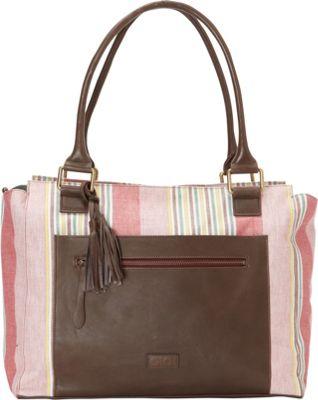 OiOi Nomadic Stripe Tote Brown/Pink - OiOi Diaper Bags & Accessories