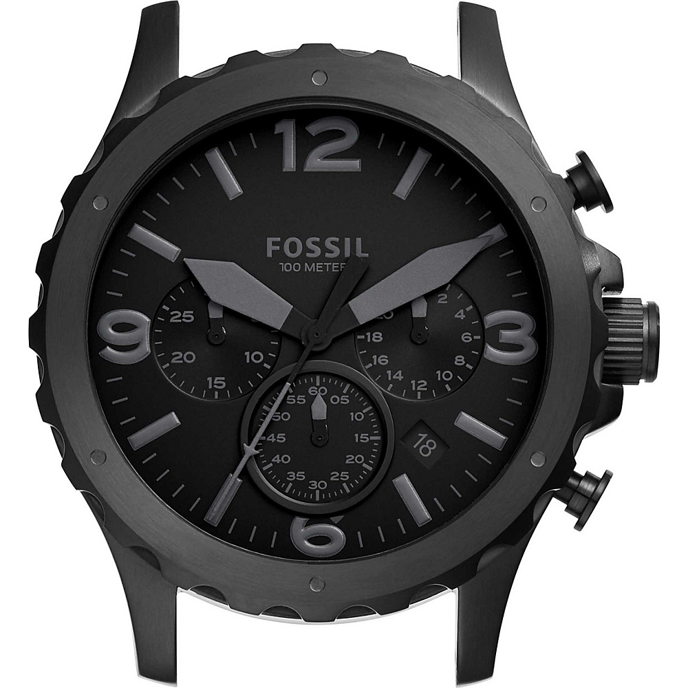 Fossil Nate Chronograph Stainless Steel 22mm Case Black - Fossil Watches - Fashion Accessories, Watches
