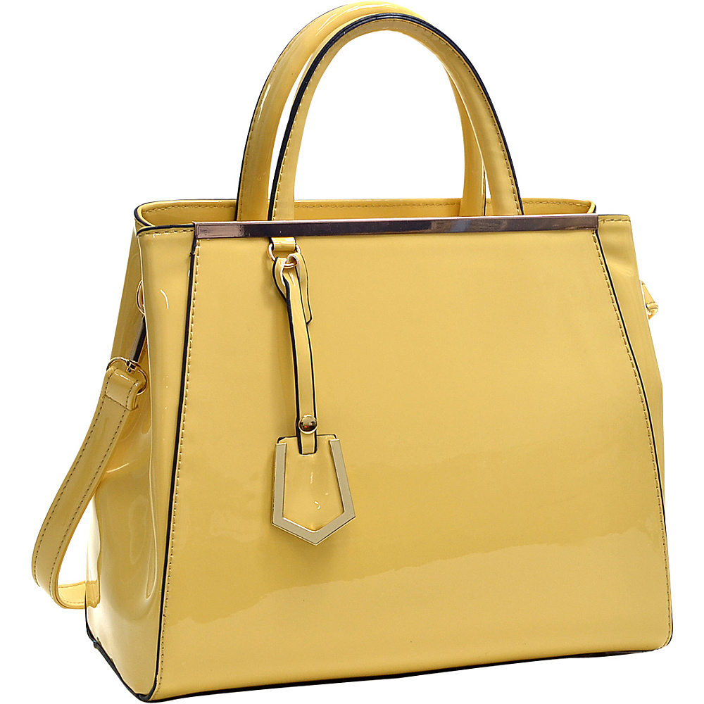 Dasein Patent Faux Leather Tote with Gold-Tone Accent Yellow - Dasein Manmade Handbags - Handbags, Manmade Handbags