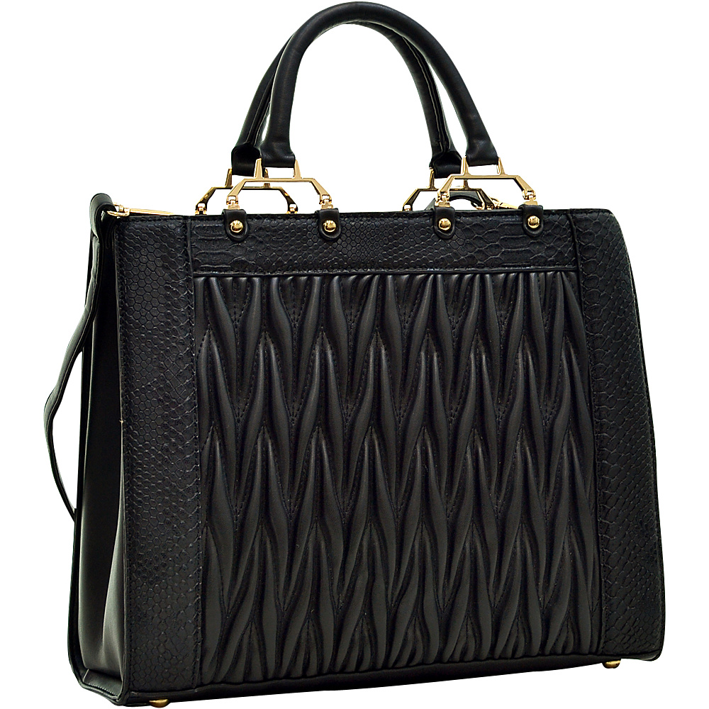 Dasein Textured Leather with Croco Metallic Trim Tote Black - Dasein Gym Bags - Sports, Gym Bags