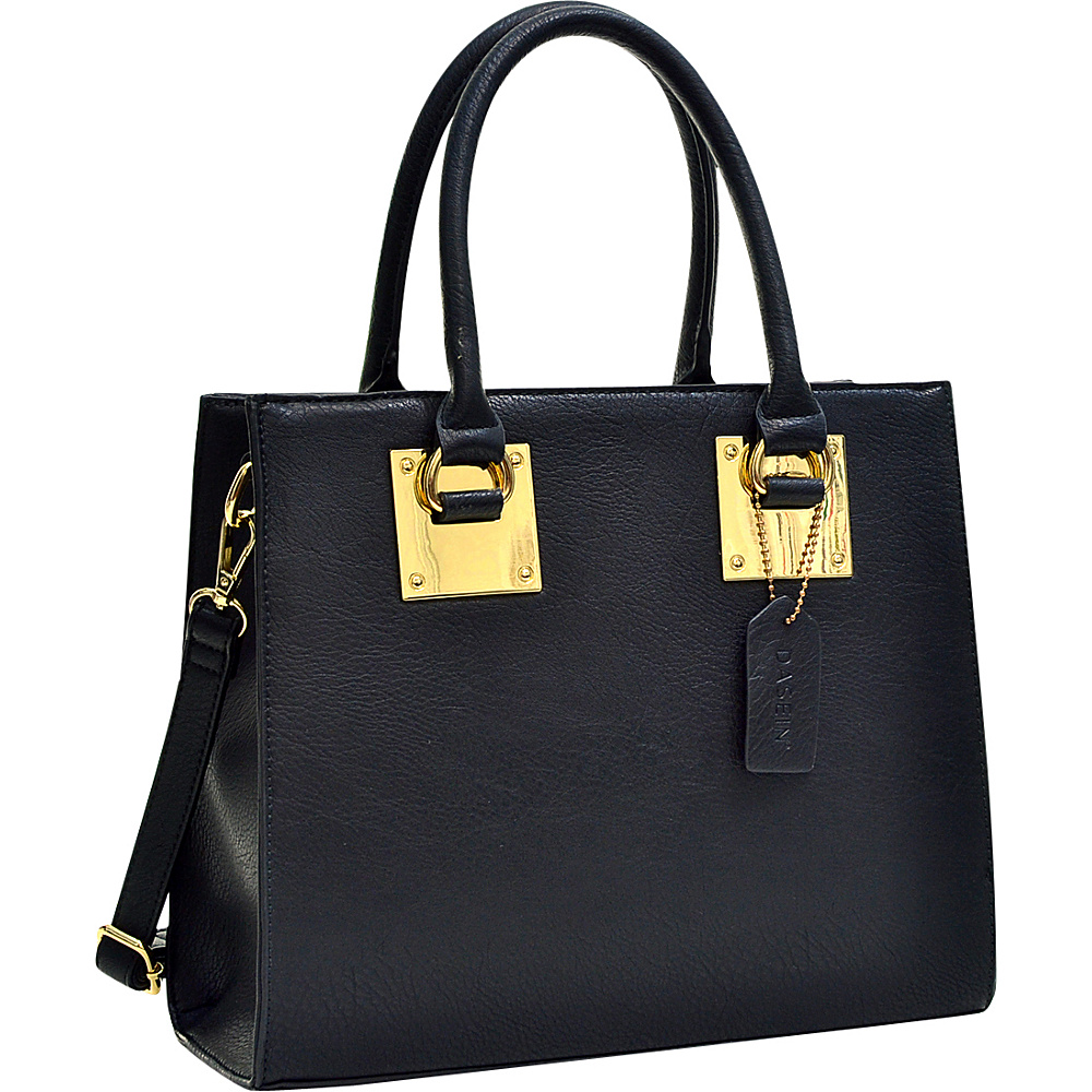 Dasein Structured Faux Leather Satchel Black - Dasein Manmade Handbags - Handbags, Manmade Handbags