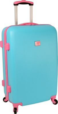 Anne Klein Luggage Palm Springs 24 inch Hardside Spinner Turquoise/Pink - Anne Klein Luggage Hardside Checked