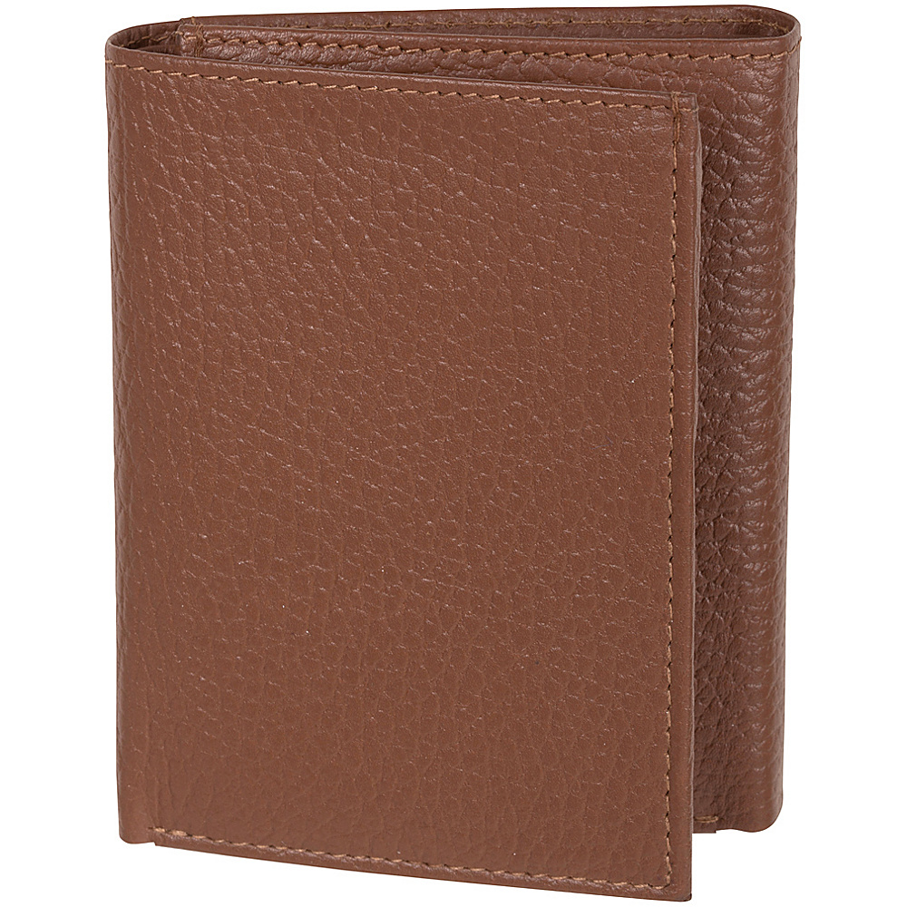 Access Denied Men s RFID Trifold Wallet Secure ID Genuine Leather Tan Pebble Access Denied Men s Wallets