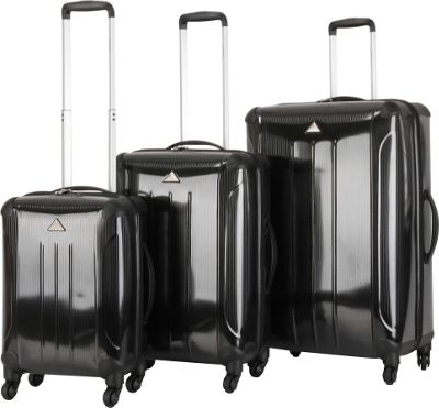 Triforce Apex 102 Collection Hardside 3-piece Spinner Luggage Set Black - Triforce Luggage Sets