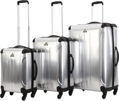 Triforce Apex 102 Collection Hardside 3-piece Spinner Luggage Set Silver - Triforce Luggage Sets