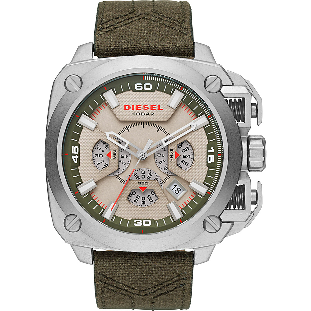 Diesel Watches BAMF Chronograph Leather Watch Green - Diesel Watches Watches
