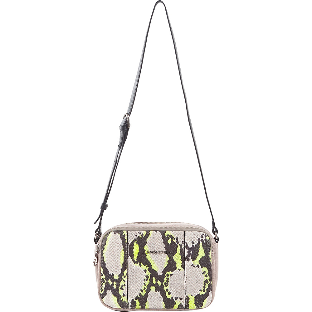 Lancaster Paris Neon Python Shoulder Bag Stone Yellow Lancaster Paris Leather Handbags