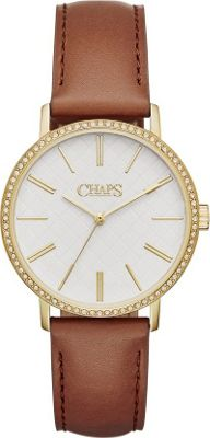 Chaps Whitney Leather Three-Hand Watch Brown - Chaps Watches