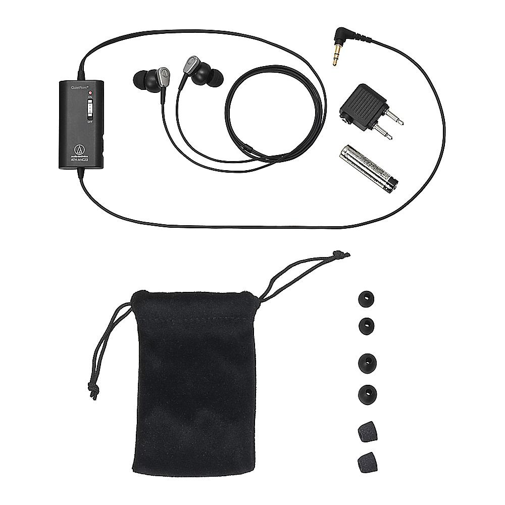 Audio Technica QuietPoint Active Noise Cancelling In Ear Headphones Black Audio Technica Headphones Speakers